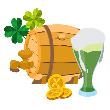 Wooden beer keg and a glass of green beer foam.