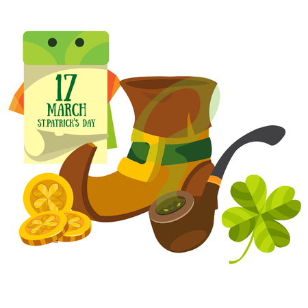 march 17: Boot gnome, smoking pipe and a calendar. March 17 day. St.Patrick s Day.