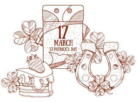march 17: Calendar 17 March. St.Patrick s Day. Golden Horseshoe and cake. Illustration