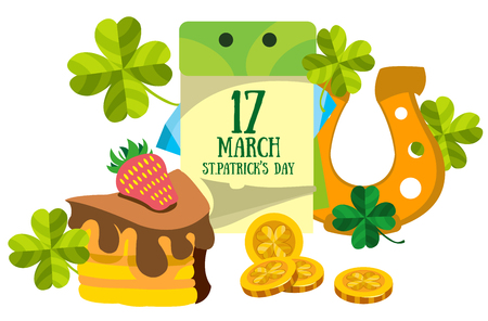 17 march: Calendar 17 March. St.Patrick s Day. Golden Horseshoe and cake. Illustration