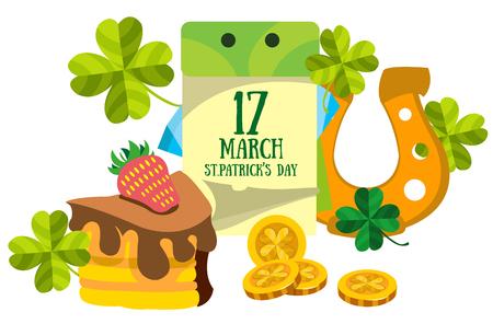 17: Calendar 17 March. St.Patrick s Day. Golden Horseshoe and cake. Illustration