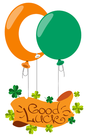fourleaf: Banner with the four-leaf clover and balloons. Congratulations to the St. Patricks Day.