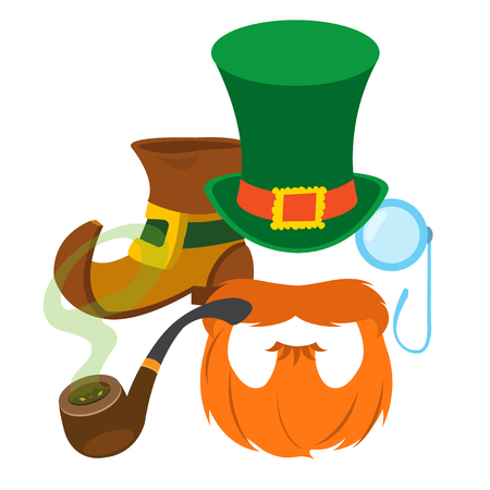 red beard: Boot leprechaun, red beard, pipe, angered hat and monocle.