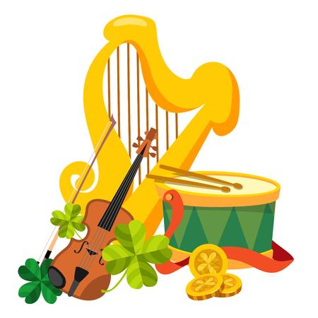 harp: Golden harp, drum and violin. Illustration