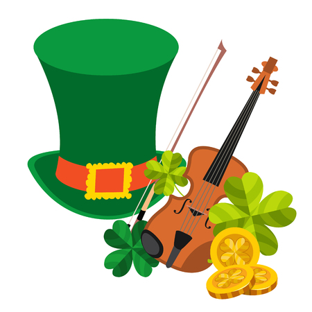 maestro: Green hat, violin, clover and gold coins. Illustration