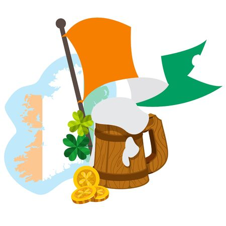 ireland map: Ireland map, flag and a mug of beer. Illustration