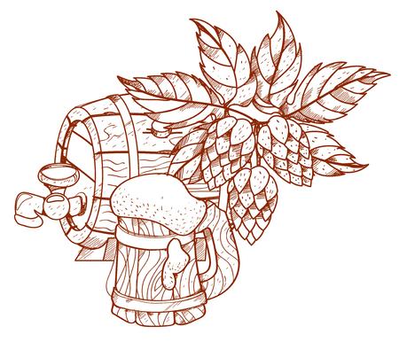 keg: Wooden beer keg and a wooden mug of beer foam. Illustration