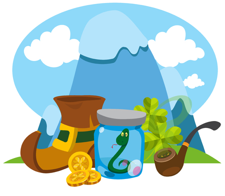 attributes: Mountains, boots leprechaun, a snake in a glass jar. Attributes of St. Patrick. Illustration