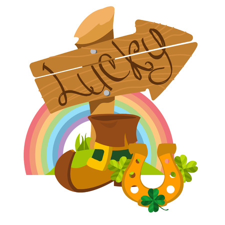 wooden shoes: Wooden signpost with the inscription, leprechaun shoes, golden horseshoe and rainbow. Illustration