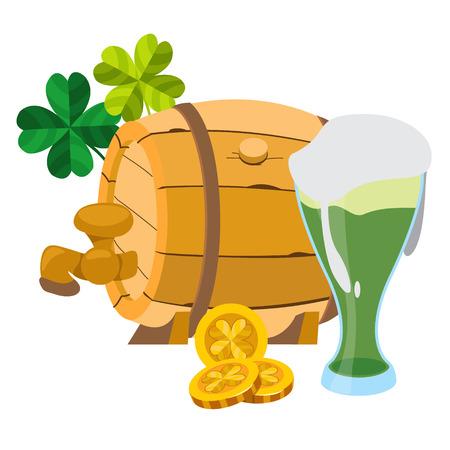 keg: Wooden beer keg and a glass of green beer foam.