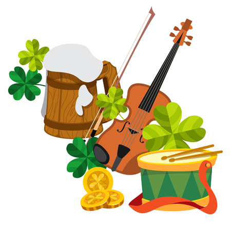 beer foam: Wooden mug of beer foam, violin, clover and gold coins and the drum.