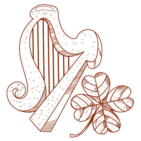 lyra: Golden harp and four-leaf clover.