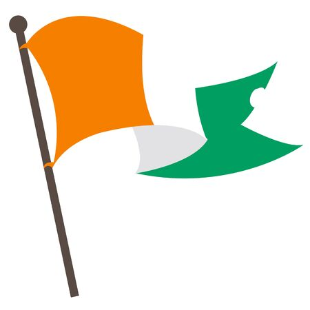 irish culture: Evolving in the wind Irish flag. Illustration