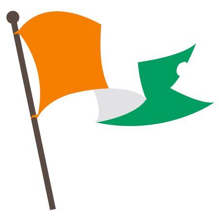 european culture: Evolving in the wind Irish flag. Illustration