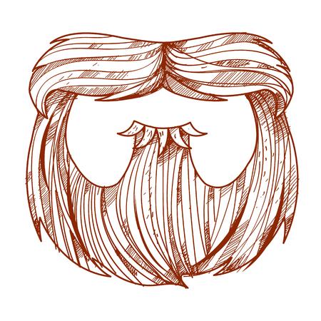 cabello rojo: Barba y el bigote en un estilo de dibujos animados. Vectores