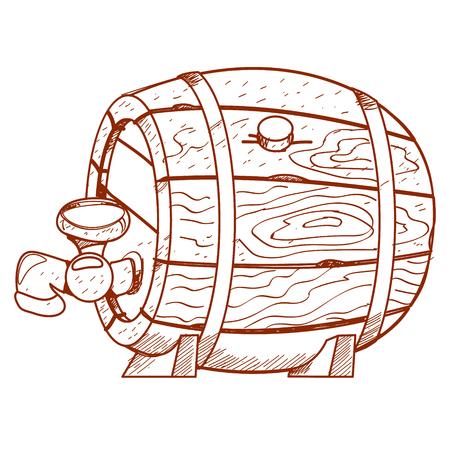 alcoholic beverages: Wooden barrel for alcoholic beverages. Illustration