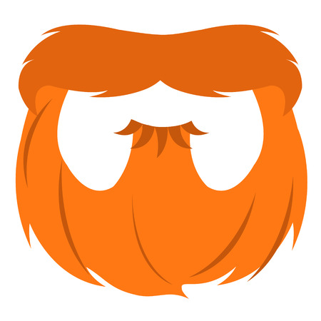 clover face: Red beard and mustache in a cartoon style. Illustration