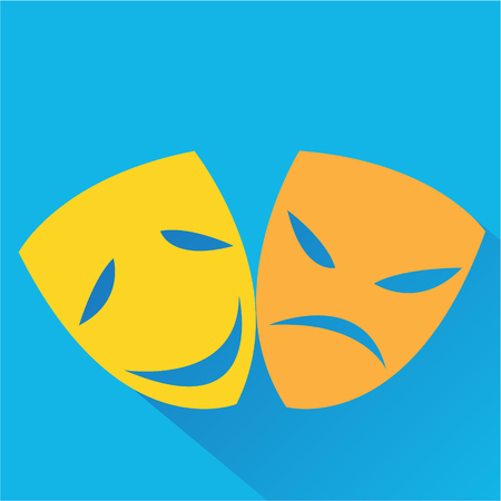 theatrical mask: The stylized theatrical mask icon. Modern colored icons in a flat design with long shadow.