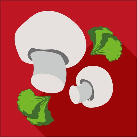 hearty: Mushrooms with green flat icon. Modern colored icons in a flat design with long shadow.