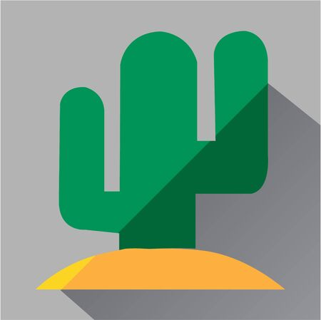 dry flowers: Green cactus icon. Modern colored icons in a flat design with long shadow. Illustration