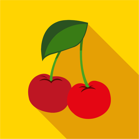 jams: Cherry on a yellow background icon flat. Modern colored icons in a flat design with long shadow.