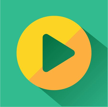 long play: Play button icon. Modern colored icons in a flat design with long shadow. Illustration