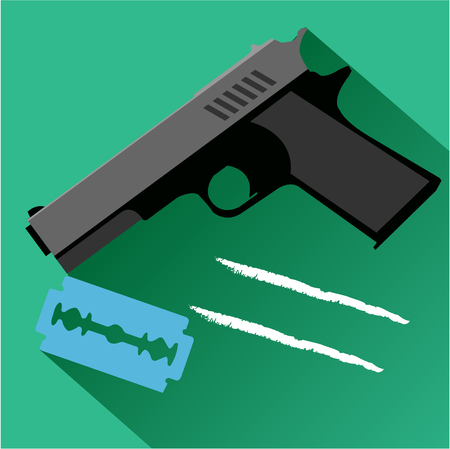 black barber: The gun and a razor blade icon. Modern colored icons in a flat design with long shadow.