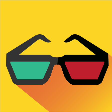 split level: 3d glasses icon flat. Modern colored icons in a flat design with long shadow.