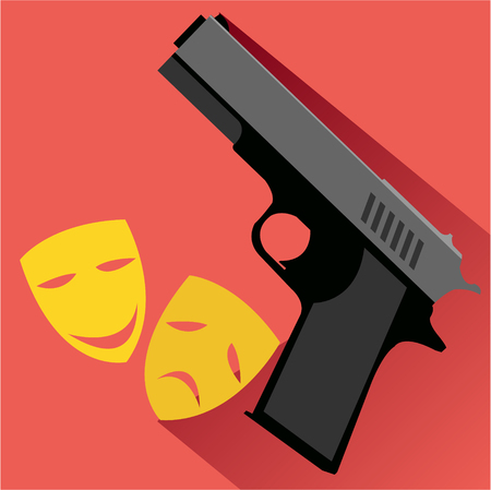 actresses: Gun and mask theater flat icon. Modern colored icons in a flat design with long shadow.