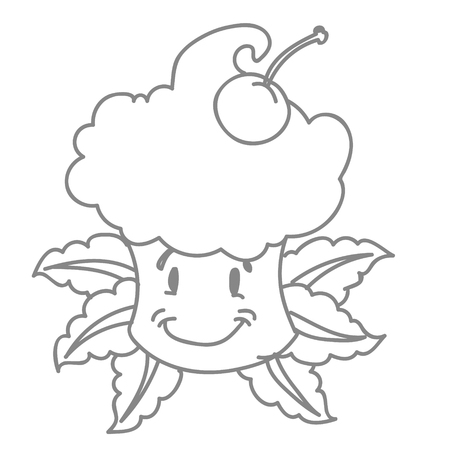 10eps: Little funny cake on a white background