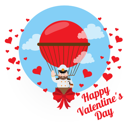 aeronautics: Colorful drawing for Valentines Day. Flying a balloon captain. Illustration