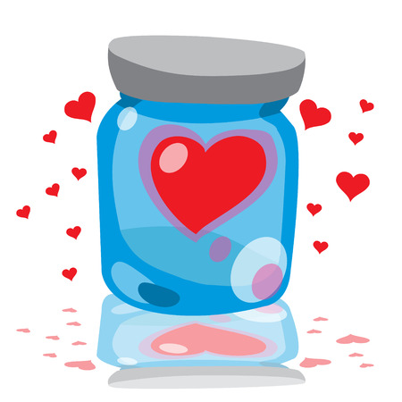 clogged: Drawing glass jars with clogged hearts for congratulations on Valentines Day and for the design of wedding paraphernalia.