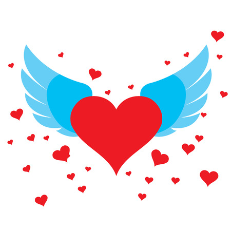 paraphernalia: Heart with wings for design and congratulations wedding paraphernalia.