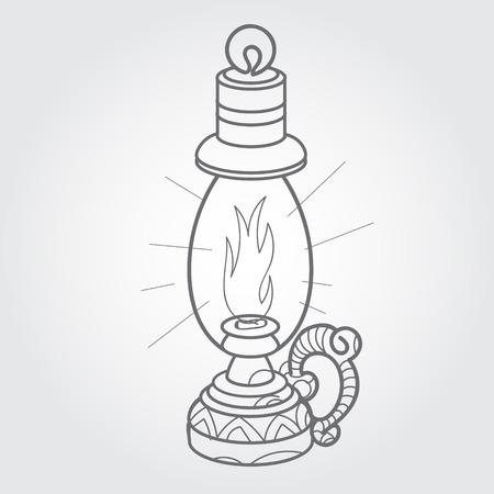 kerosene: Kerosene lamp. Black and white sketch of a tattoo. Illustration