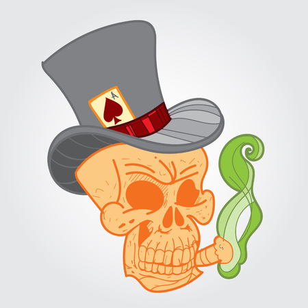 cigar smoking man: Skull with a cigar and ace of spades. Color sketch of a classic tattoo.