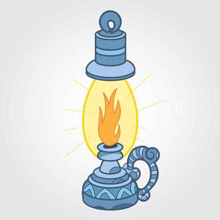 kerosene: Kerosene lamp. Color sketch of a classic tattoo.