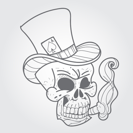 peak hat: Skull with a cigar and ace of spades. Black and white sketch of a tattoo. Illustration