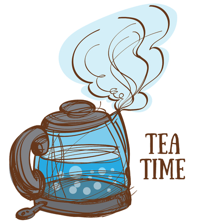 Electric kettle with boiling water, a color hand drawing. Illustration