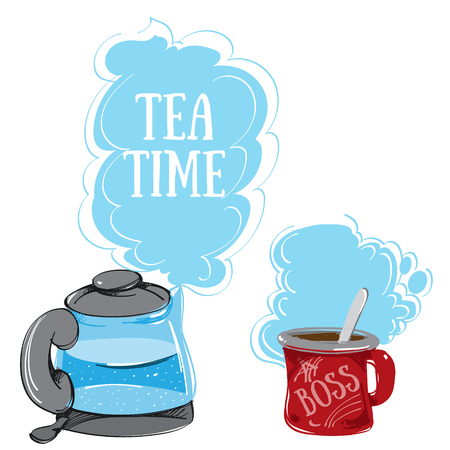 boiling water: Electric Kettle with boiling water and a mug, a color hand drawing.