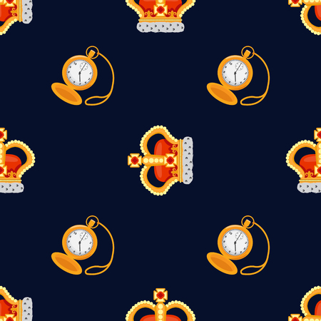 noble: Seamless pattern with crown monarch and pocket watch to the noble dark blue background.