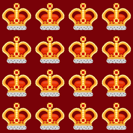 noble: Seamless pattern with crown monarch to the noble burgundy background. Illustration