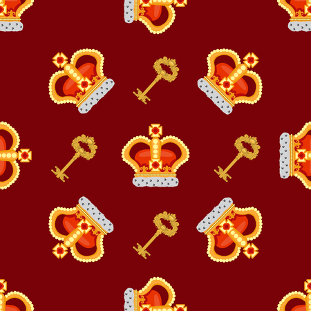 burgundy background: Seamless pattern with crown monarch and a golden key to the noble burgundy background.