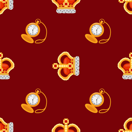 noble: Seamless pattern with crown monarch and pocket watch to the noble burgundy background.he noble dark blue background.