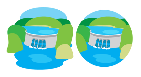 hydroelectric: Hydroelectric power station, dam Illustration