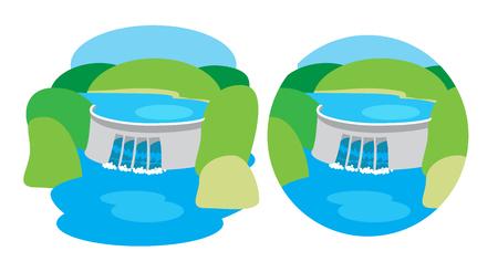 Hydroelectric power station, dam Illustration