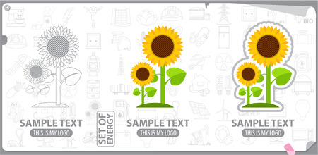 Logo sunflower, energy, plants Çizim