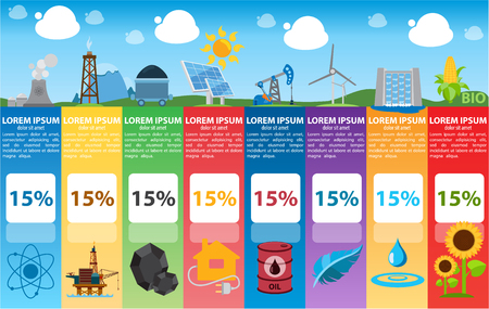 sun oil: Energetics infographics, industry, alternative power sources Illustration