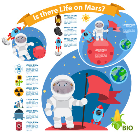 cartoon astronaut: Infographics Is there life on Mars, space, astronaut