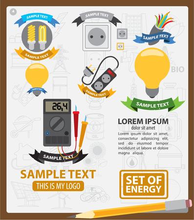 energetics: Energy , energy infographics, energetics symbols,  with ribbon Illustration