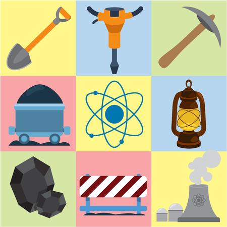 energetics: Mining energetics flat icons, industry, energetics